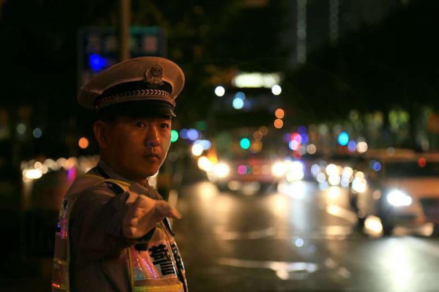 国庆掠影 浦东公安分局民警全警上岗执勤