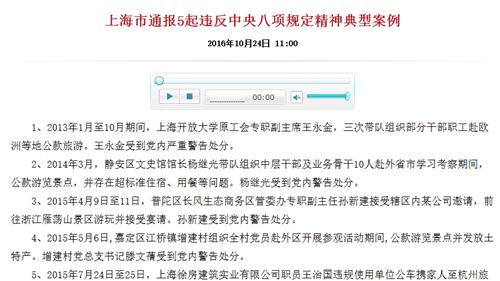 上海市通报5起违反中央八项规定精神典型案例