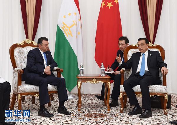 李克强会见塔吉克斯坦总理拉苏尔佐达