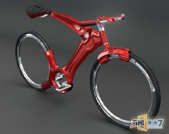 未来概念自行车,看不到轮毂也看不到链条