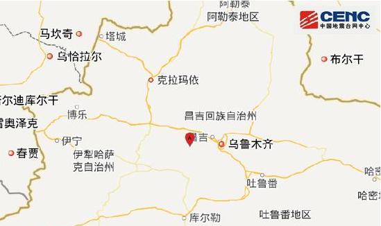 新疆昌吉州呼图壁县附近发生6.4级左右地震