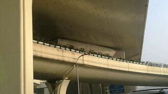 沪闵高架上海南站出发平台发生一起集卡被卡事故 无人伤亡