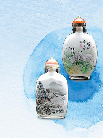 内画瓶:瓶装山水 细致精美