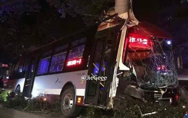 松江17路昨晚失控撞线杆 驾驶员身亡乘客均无生命危险