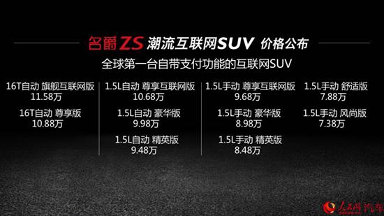 上汽名爵ZS上市 售价7.38万-11.58万