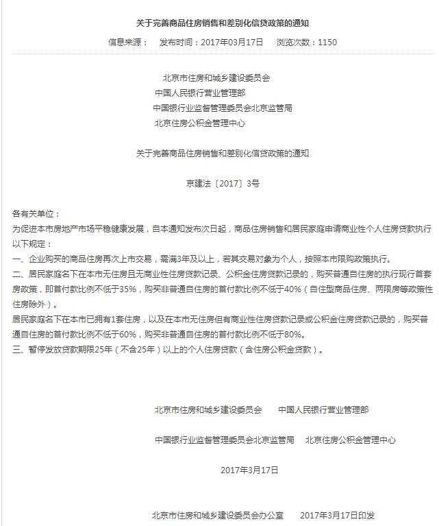 北京楼市调控升级:认房认贷 二套房首付提至60%