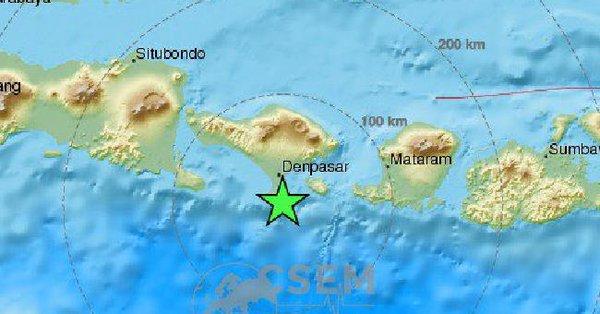 印尼巴厘岛海域今晨发生6.4级地震