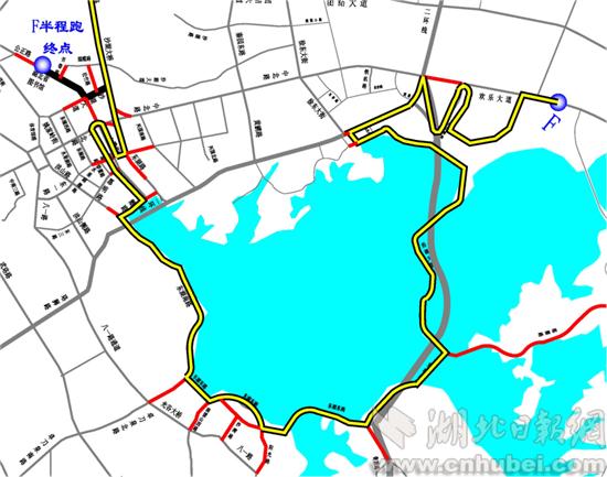 比赛当日东湖绿道周边交通组织图(     ) -武汉交警解读 汉马 交通组图片