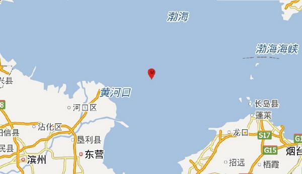 山东东营市垦利区海域发生2.6级地震 震源深度8千米