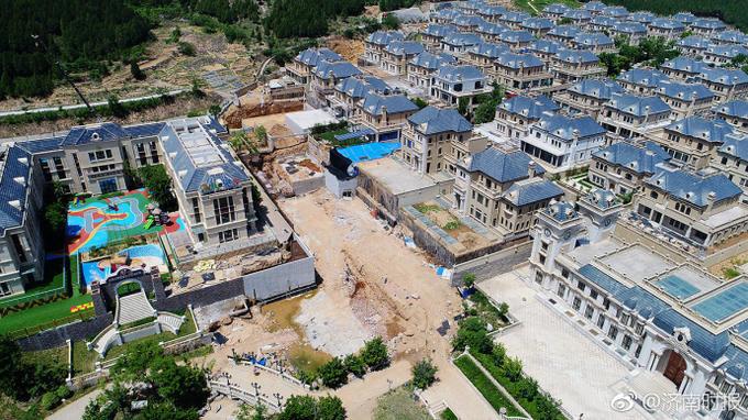 航拍济南中海国际社区别墅群,场面震撼