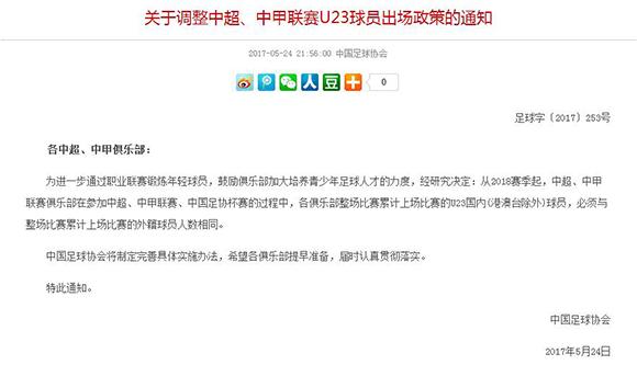中国足协接连发布两则重磅通知 限制高价引援、U23再出新政