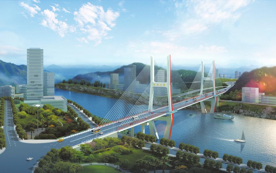达州金南大桥6月中旬中跨合龙 预计10月全面竣工
