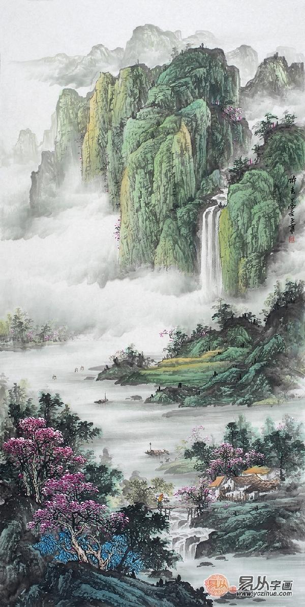 此画江岸两边山峦起伏树木丛生百草丰茂,房屋置于山间若隐若现,远处壁
