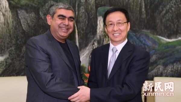 韩正会见印孚瑟斯CEO 印度最大海外项目落户上海
