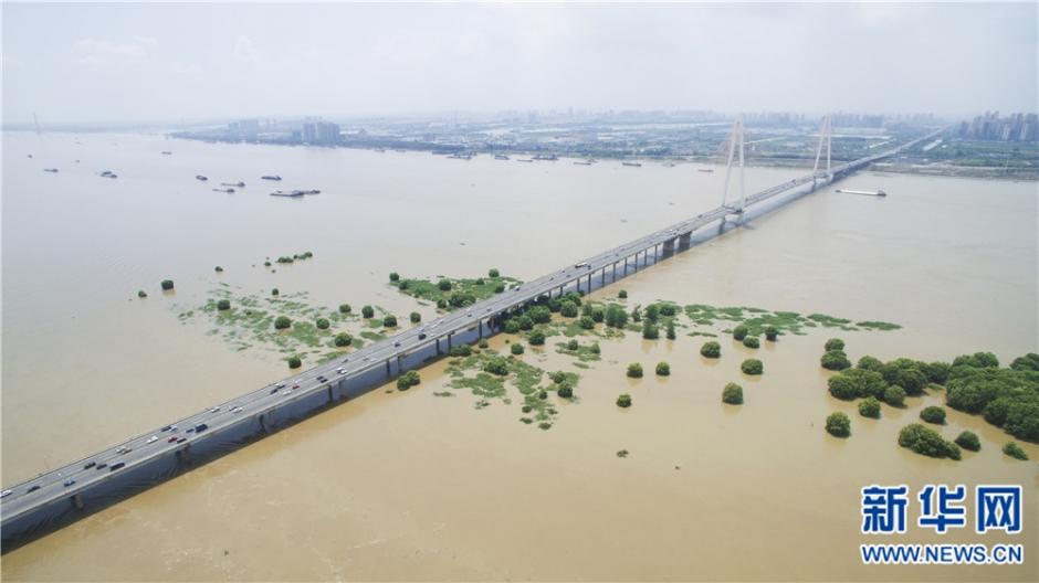 长江防汛进入二级应急响应 航拍武汉白沙洲天兴洲被淹