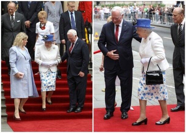 女王碰不得!忧英女王下楼梯跌倒 加拿大总督违规搀扶