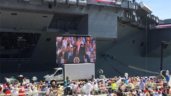 """美国最新型航母""""福特号""""正式服役 系美军最大核动力航母"""
