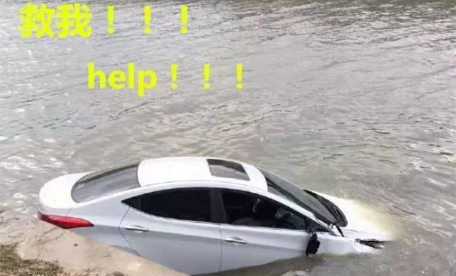 上海女司机热晕了头,一脚油门把车开进河里