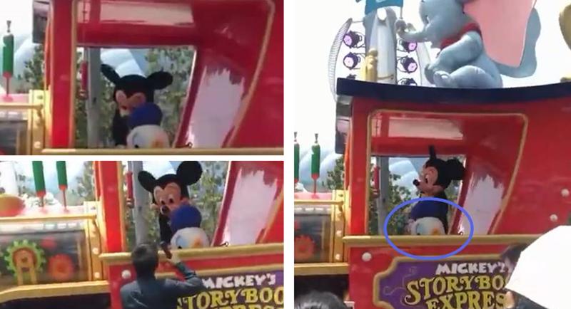 心疼…上海迪士尼花车巡游的唐老鸭中暑了