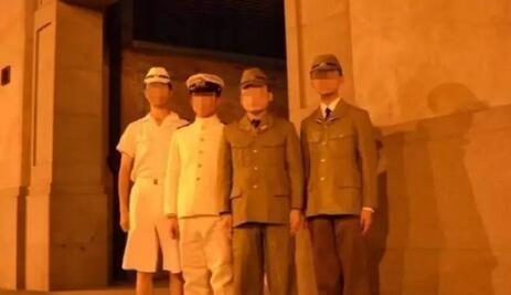 四行仓库前穿仿制二战日本军服拍照 上海警方行拘3人训诫2人