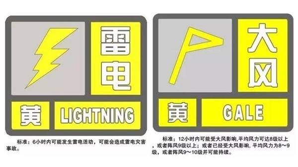 上海刚刚发布雷电、大风黄色预警!