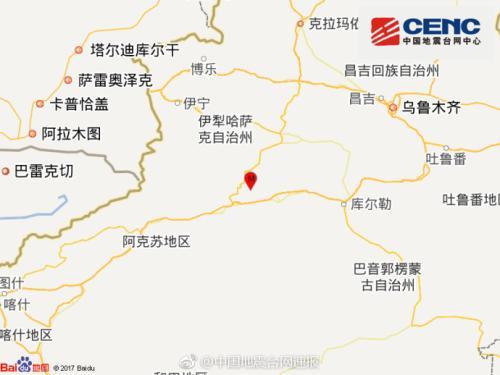 新疆库车县发生5.7级地震 震中附近20公里人口稀少