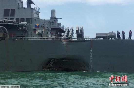 美军舰连发撞船事故 麦凯恩吁停止官兵超时工作