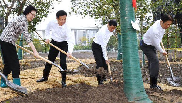 今天,韩正应勇和市民代表来到这里植树,上海重大文化体育设施建设又有新进展