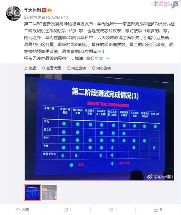 华为完成中国5G试验第二阶段测试