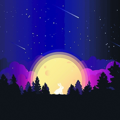 月亮桂树玉兔简笔画