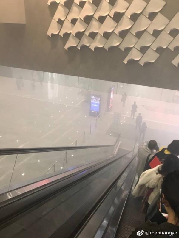浦东机场二号航站楼出现浓烟 系充电电瓶车自