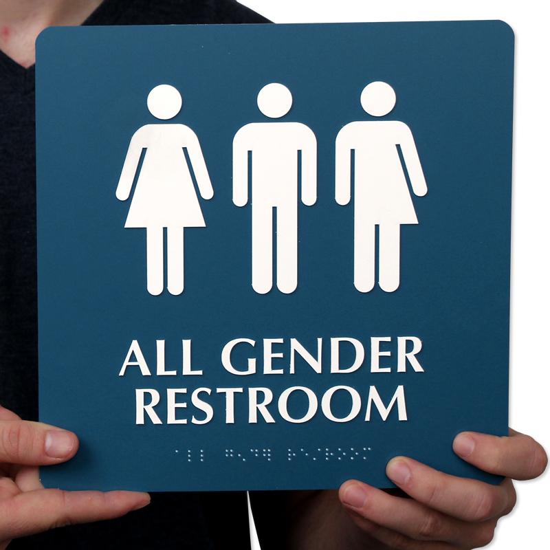 美国的部分无视性别的厕所标志 图gj