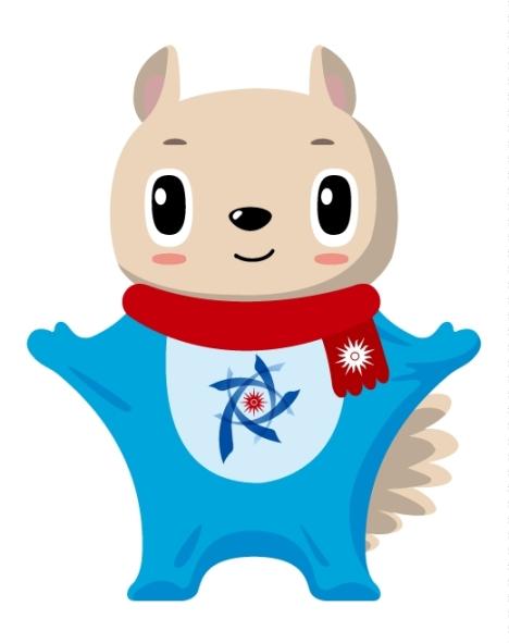 图说:札幌亚冬会吉祥物为一只小飞鼠,其胸前图案为本届亚冬会会徽图片